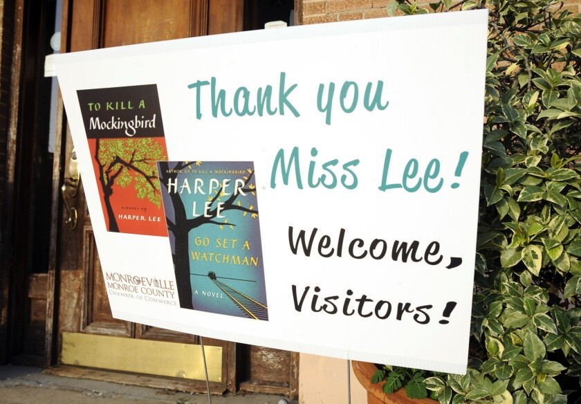 "A sign welcoms fans to Monroeville, Ala., the hometown of author Harper Lee and model for the town of Maycomb in ""To Kill a Mockingbird."" Anticipation is building for Tuesday's release of Lee's second book, ""Go Set a Watchman."""