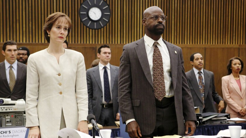 In this image released by FX, Sarah Paulson portrays Marcia Clark, left, and Sterling K. Brown portr