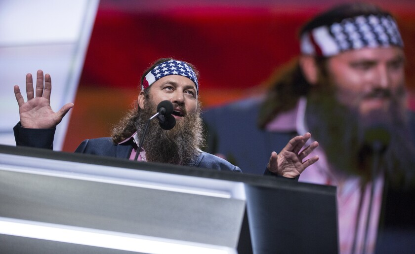 """""""Duck Dynasty's"""" Willie Robertson speaks at the Republican National Convention on Monday."""