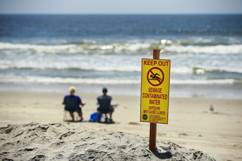 Signs warn of contaminated ocean water in Imperial Beach.
