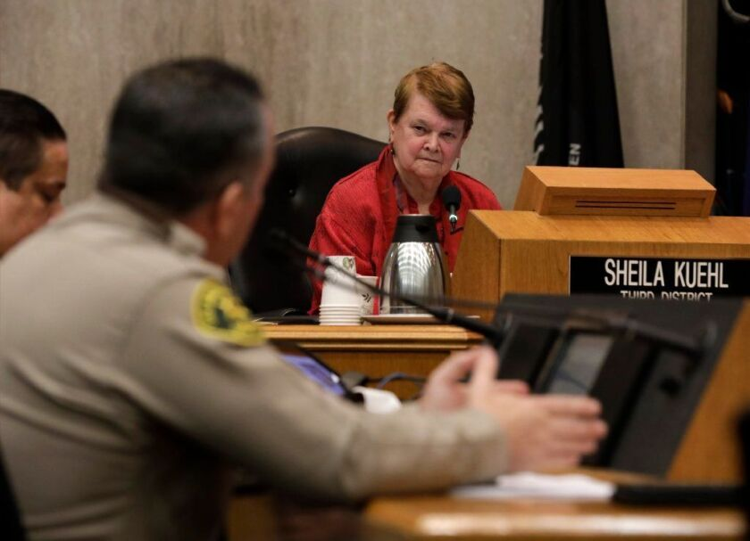 Los Angeles County Sheriff Alex Villanueva speaks to the L.A. County Board of Supervisors in January 2019.