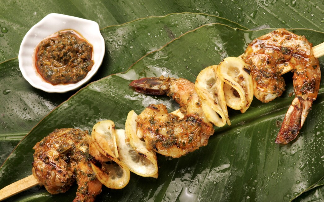 Grilled shrimp skewers with charmoula