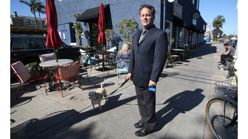 """Cat detective Jack Tyler stops by what he calls his """"office,"""" the Sit Stop Cafe, with his dog Daphne"""