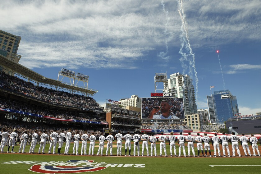 Opening day brought the first of 12 sellouts for the Padres this season.