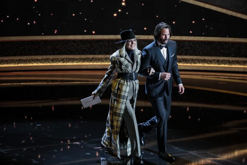 Presenters Diane Keaton, left, and Keanu Reeves