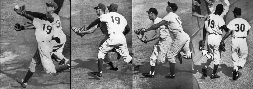 Oct. 4, 1959: Dodger third baseman Gim Gilliam (19) and shortstop Maury Wills chase White Sox Jim Rivera's high foul in fourth inning of Game 3 in the 1959 World Series. Gilliam makes a back-handed catch. A fan pats him on back. The right three photos were  taken by The Times' Art Rogers. The left photo is from Associated Press. This four-photo combo appeared in the Oct. 5, 1959, Los Angeles Times.
