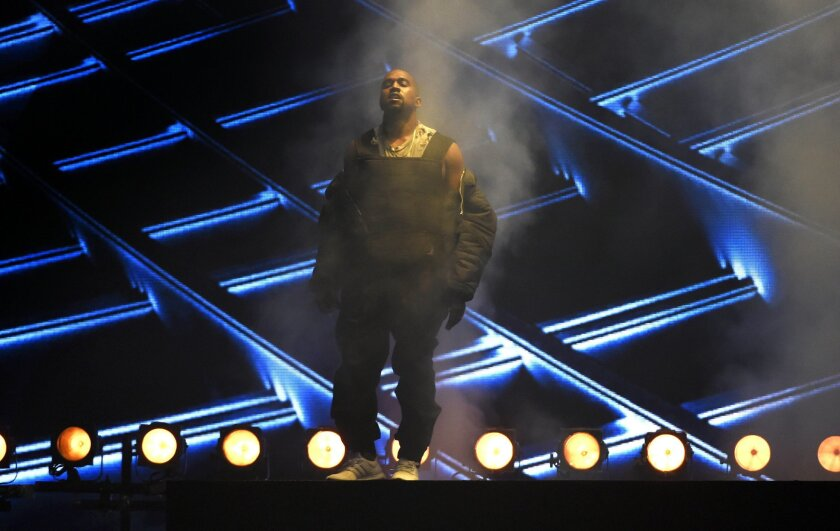 FILE - In this Sunday, May 17, 2015 file photo, Kanye West performs at the Billboard Music Awards at the MGM Grand Garden Arena in Las Vegas. On on Saturday night, June 20, 2015, West capped a show filled with other hip-hop stars from Drake, Nicki Minaj and Future at Atlanta's Hot 107.9's Birthday