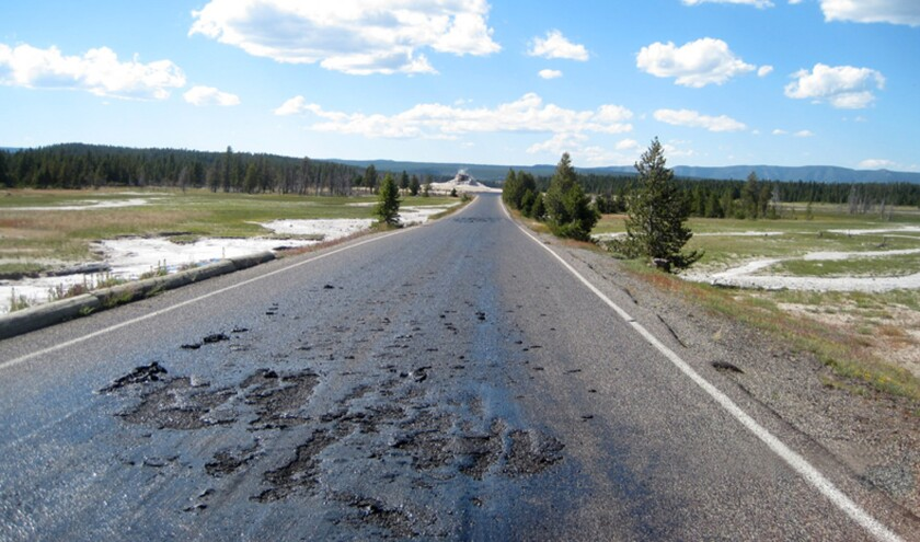 Melting road in Yellowstone National Park