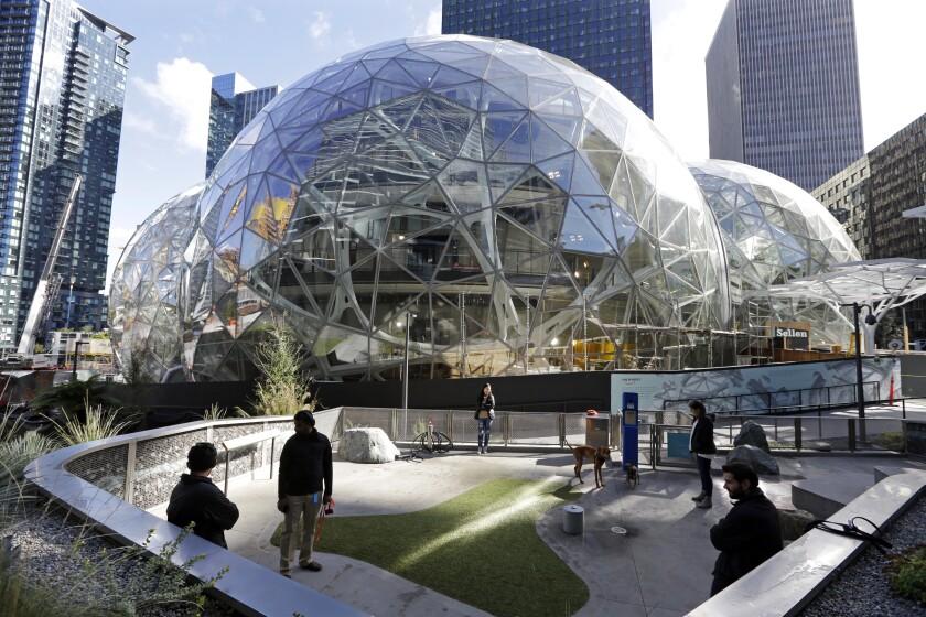 Amazon's globe-shaped buildings in Seattle.