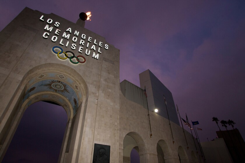 FILE - This Feb. 13, 2008, file photo shows the Los Angeles Memorial Coliseum in Los Angeles. University of Southern California President C.L. Max Nikias announced Monday, Jan. 29, 2018, that the stadium will be renamed United Airlines Memorial Coliseum. The announcement was made during a ceremonial groundbreaking for a $270 million renovation of the 95-year-old stadium.