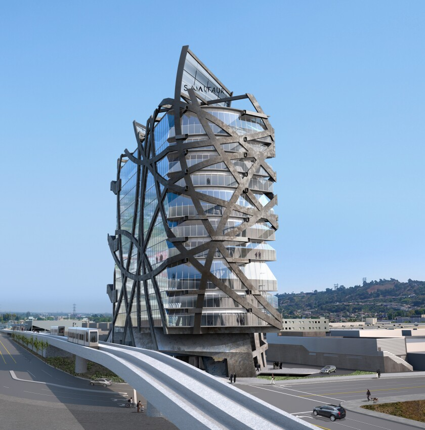 A rendering of a new design by Eric Owen Moss in the area of Culver City.