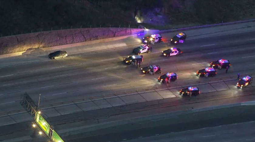 The driver of a black Mercedes-Benz led police on an hours-long chase, resulting in a standoff on the 91 Freeway in Anaheim.
