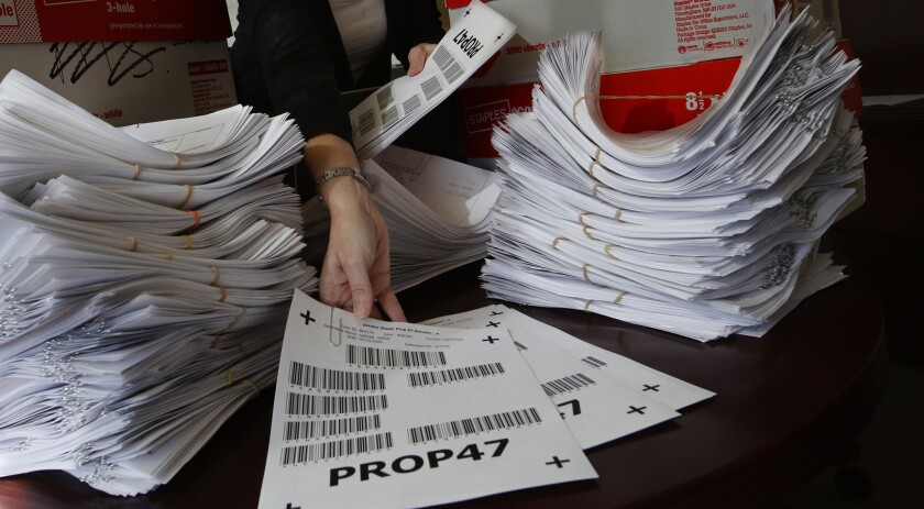 Proposition 47 petitions submitted in San Diego County awaiting verification in 2014.