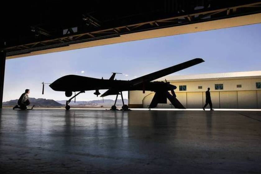 A Predator drone at Creech Air Force Base near Las Vegas. The U.S. is establishing a temporary drone base in Niger to assist French troops battling Islamist militants in neighboring Mali.