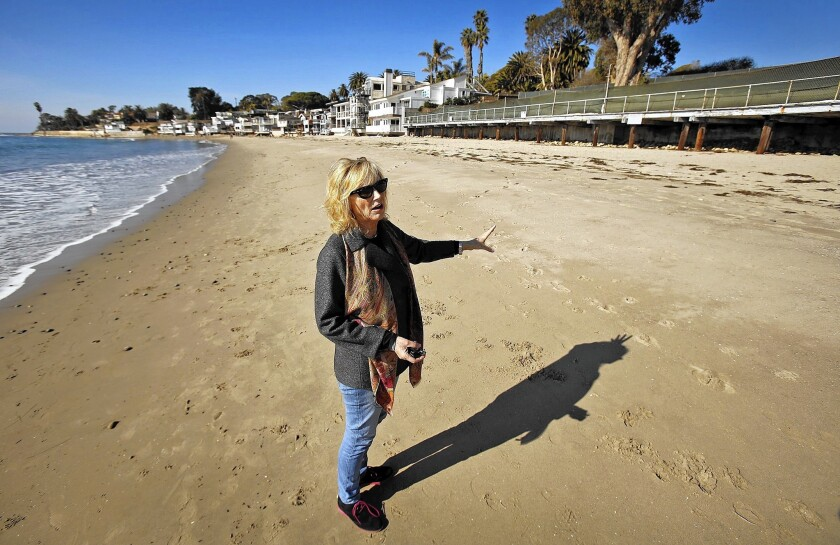 Emily Roos, president of the Montecito Homeowners Assn. at the site of the former Miramar Hotel.