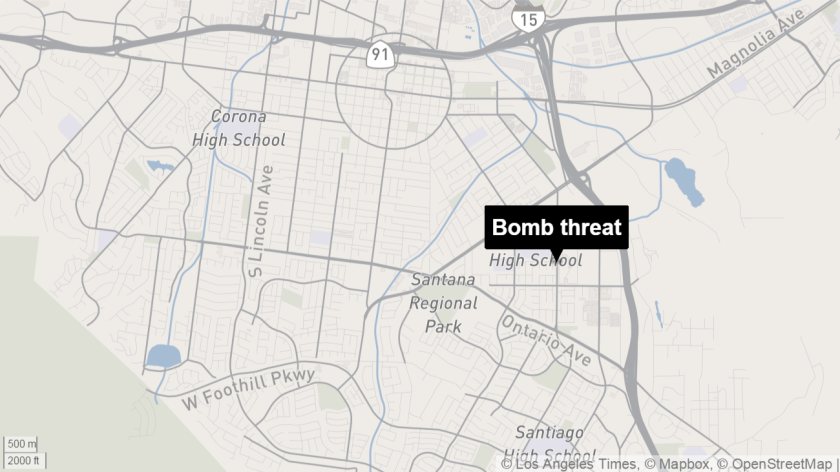 Classes at Centennial High School in Corona were canceled Tuesday because of a bomb threat.