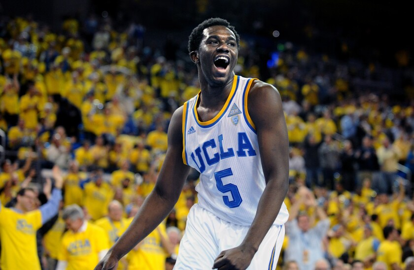 UCLA's Prince Ali celebrates a dunk against Kentucky in 2015 at Pauley Pavilion.