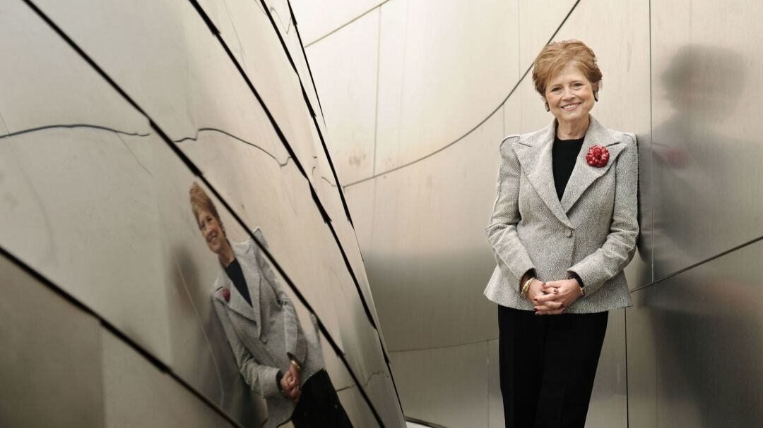Deborah Borda stands outside Walt Disney Concert Hall in 2014.