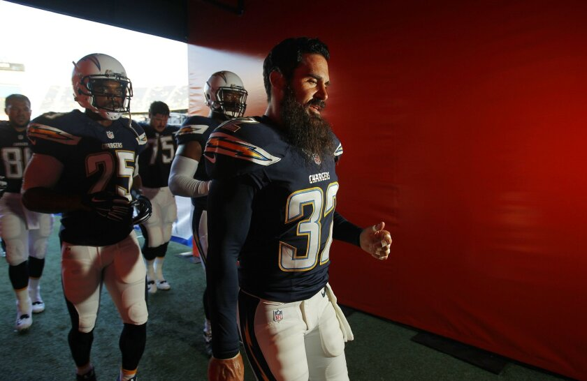 Chargers Eric Weddle takes the field against the Dallas Cowboys.