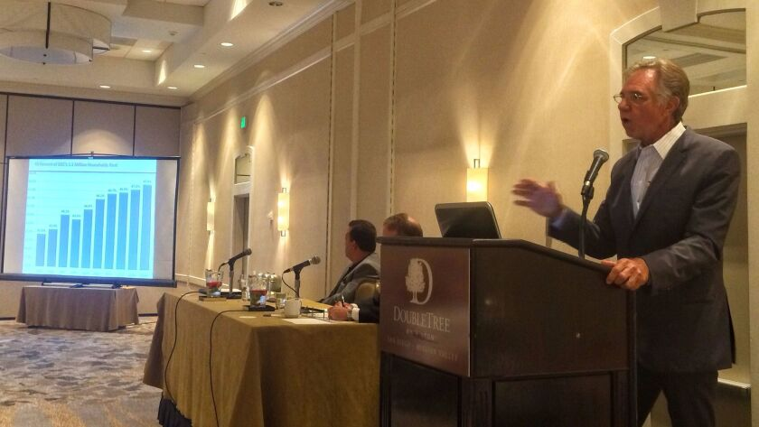 Russ Valone, president of MarketPointe Realty Advisors, presents latest rental data Thursday at the Apartment Perspective 2017 event at the DoubleTree Hotel in Mission Valley