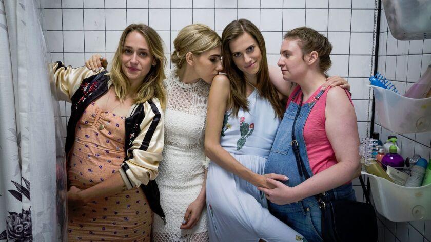"""From left: Jemima Kirke, Zosia Mamet, Allison Williams and Lena Dunham on the set of HBO's """"Girls."""""""