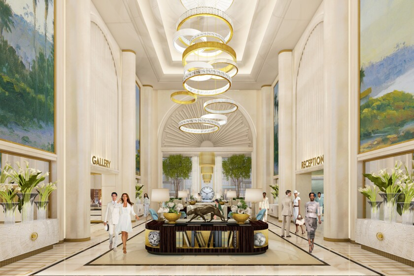 Rendering of the $200-million Waldorf Astoria being built at the intersection of Santa Monica and Wilshire boulevards in Beverly Hills (artist's rendering).