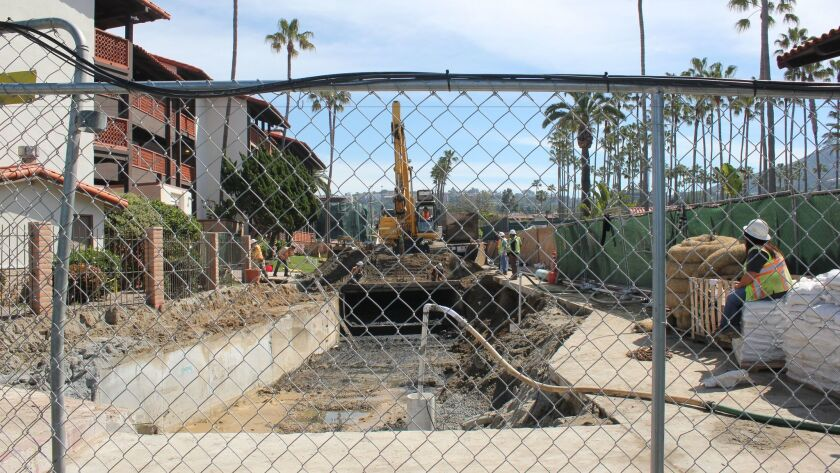 Construction progresses at the end of Avenida de la Playa, where in winter 2016 a box culvert exploded creating a sinkhole.