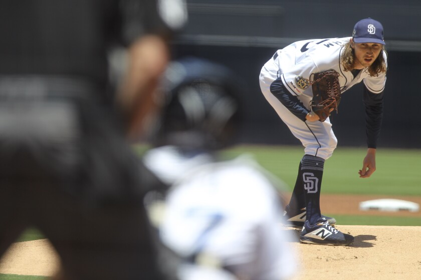 Padres left-hander Matt Strahm pitches against the Brewers on June 19.