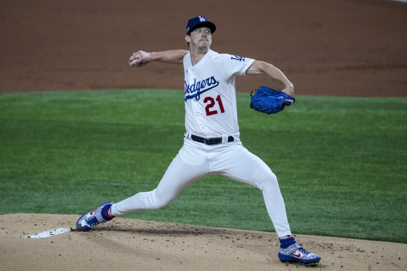 Dodgers starter Walker Buehler pitches against the San Diego Padres in Game 1 of the NLDS at Globe Life Field
