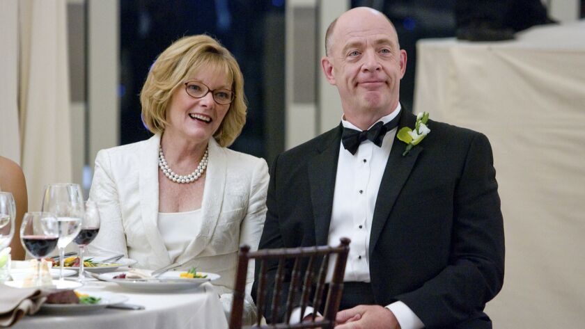 Joyce (Jane Curtin, left) and Oswald Klaven (J.K. Simmons, right) are the parents of the groom in th