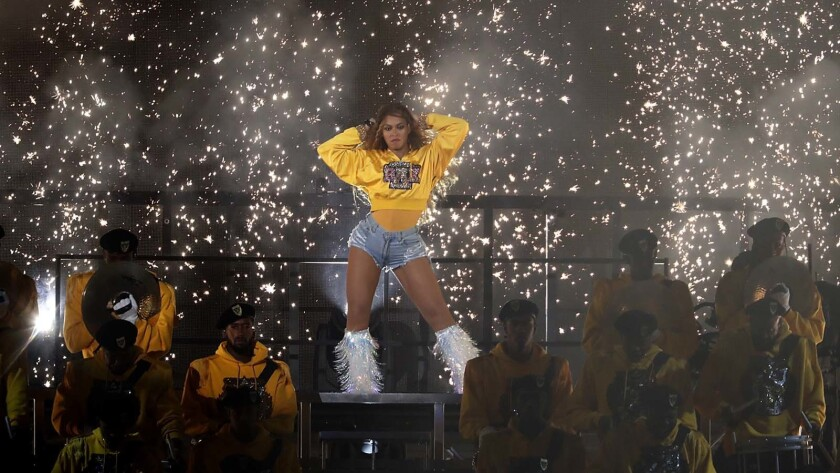 Beyoncé onstage at Coachella in 2018.