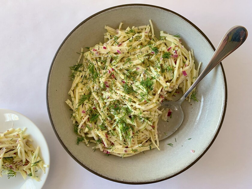 French rémoulade slaw made with julienned kohlrabi and apple in a yogurt dressing.