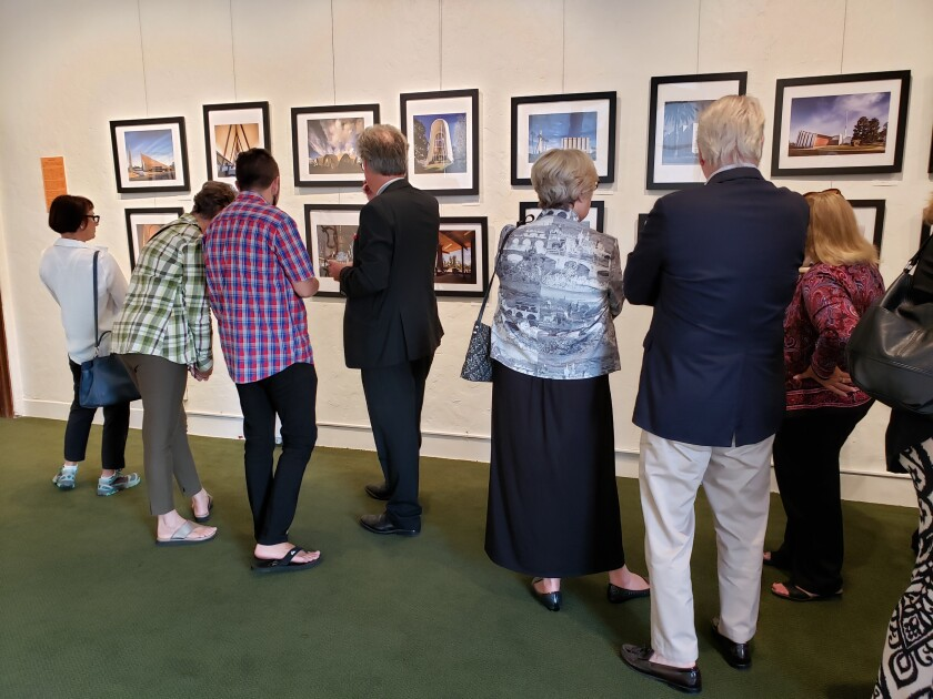 On opening night, Sept. 27, supporters gather at St. James-by-the-Sea's gallery to view the 'Mid-Century Modern Places of Worship' exhibit.