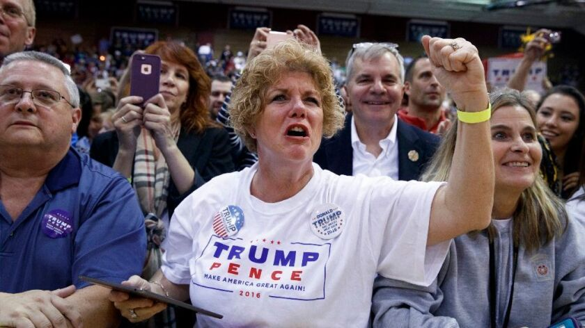 Supporters of Republican presidential candidate Donald Trump cheer as he speaks during a campaign rally, Monday, Oct. 10, 2016, in Ambridge, Pa.