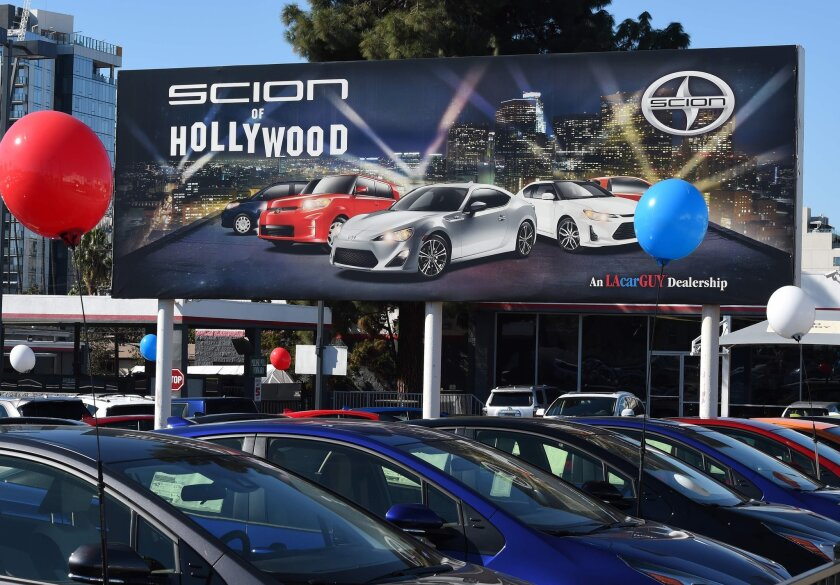Cars at a Toyota/Scion dealership in Hollywood on Feb. 3.