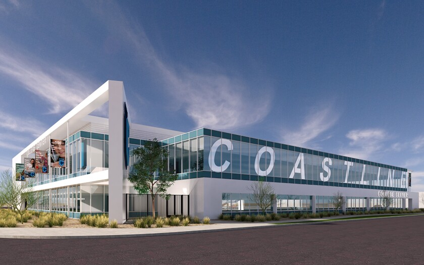 A rendering of the new Student Services Center on Coastline College's Fountain Valley campus.