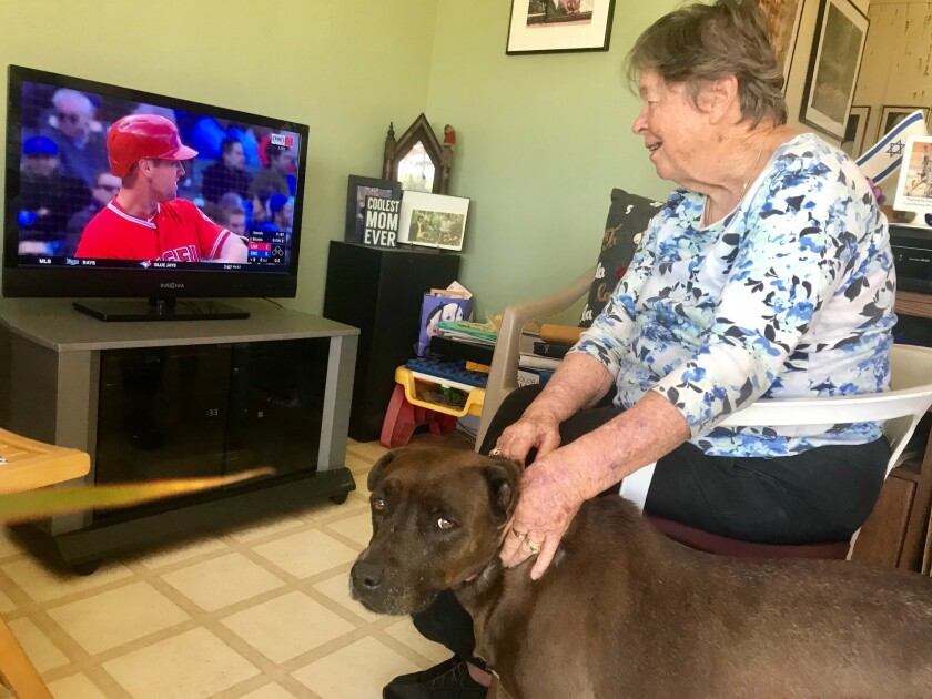 Anne Goldfarb switched to watching the Angels because of the Dodger TV blackout?