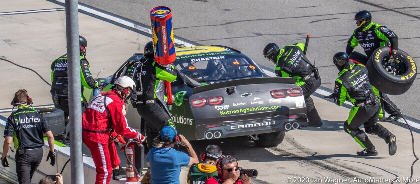 Pit stop action in the NASCAR Xfinity Series race