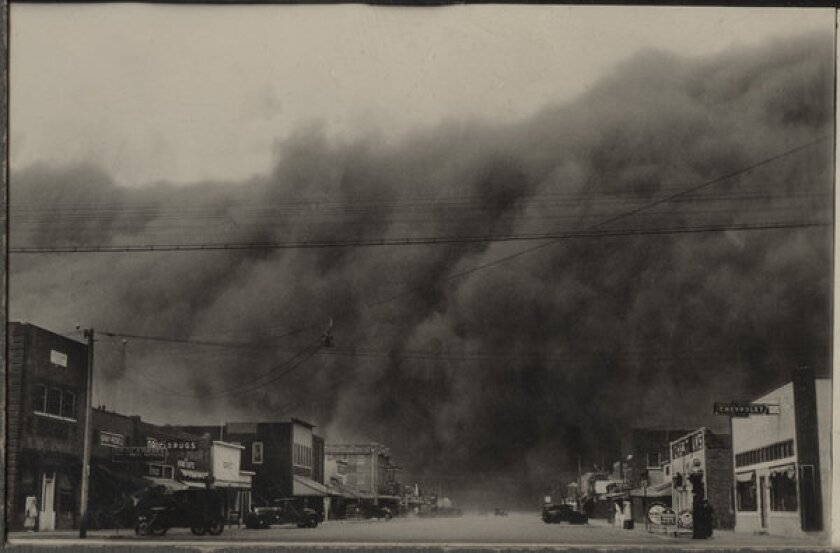 A photo from Ken Burns' 'The Dust Bowl' shows the worst storm of the decade-long crisis as it descends on Ulysses, Kan., in 1935.