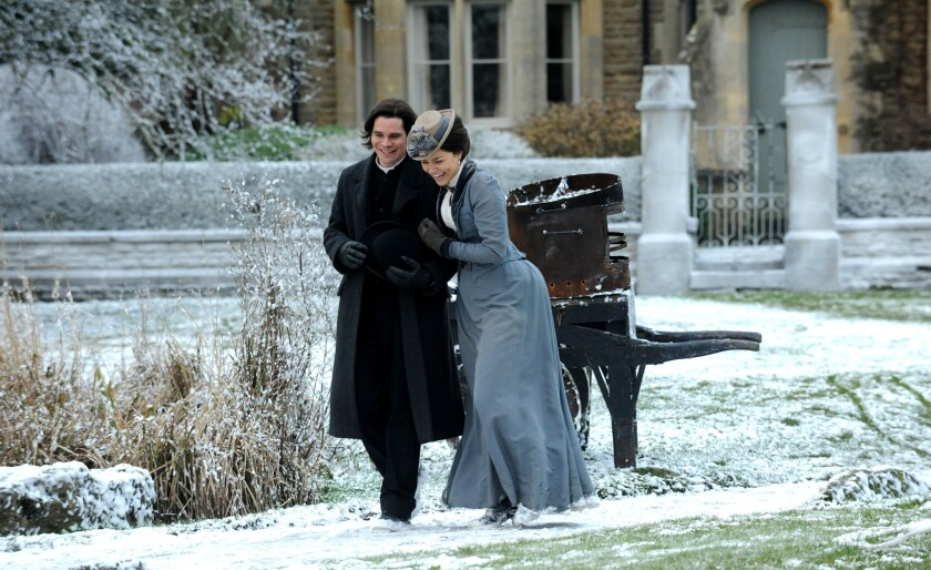 """Hans Matheson and Samantha Barks in """"The Christmas Candle."""""""