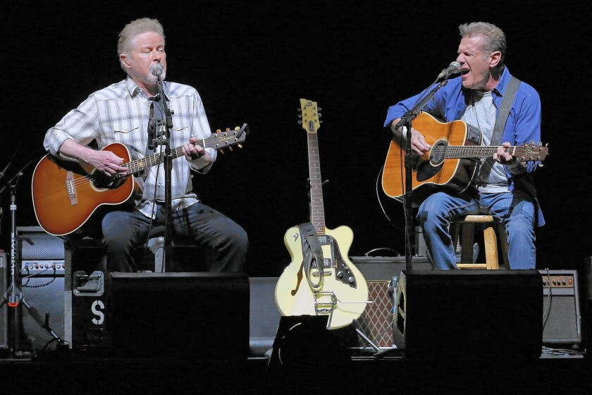 Don Henley, left, and Glenn Frey of the Eagles perform in Perth, Australia, on Feb. 18, 2015.