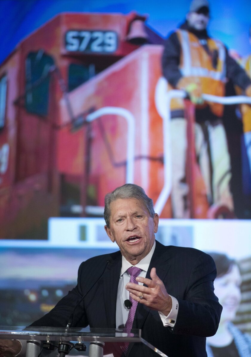 FILE - In this Thursday, May 14, 2015, file photo, Canadian Pacific Railway CEO Hunter Harrison speaks at the company's annual meeting in Calgary, Alberta. Canadian Pacific plans to ask federal regulators for preliminary approval of the structure of its proposed takeover of Norfolk Southern railroa