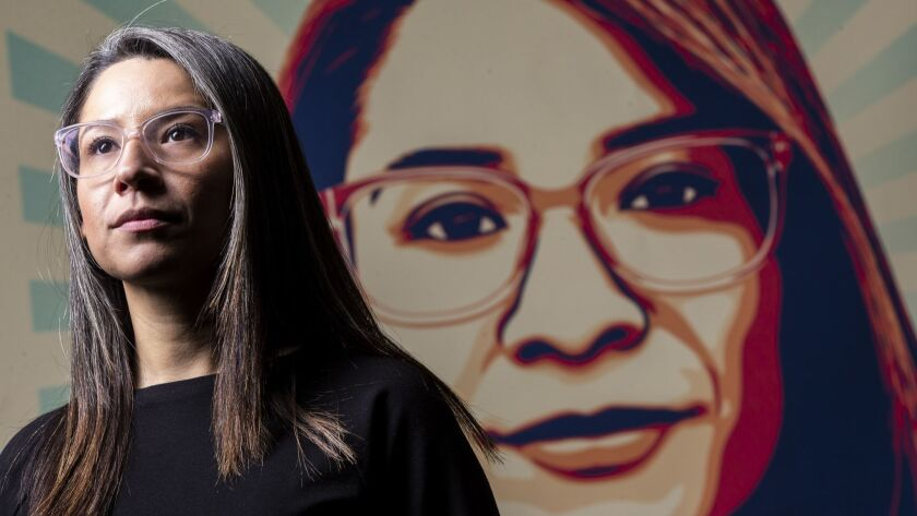 "LOS ANGELES, CALIF. - JANUARY 16: Roxana Duenas, whose face appears on the widely circulated ""Stand"