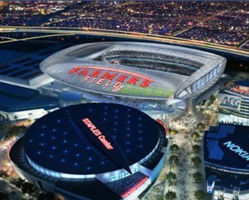 Image from AEG website shows concept for Farmers Field next to Staples Center. Courtesy: aegworldwide.com