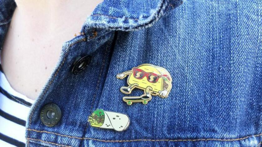 How can you go wrong with a skateboarding taco pin?
