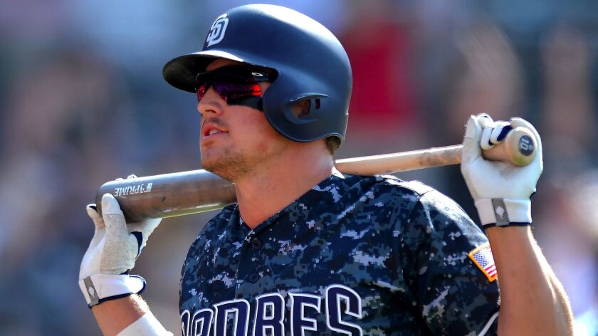 Jun 25, 2017; San Diego, CA, USA; San Diego Padres right fielder Hunter Renfroe (10) reacts after st