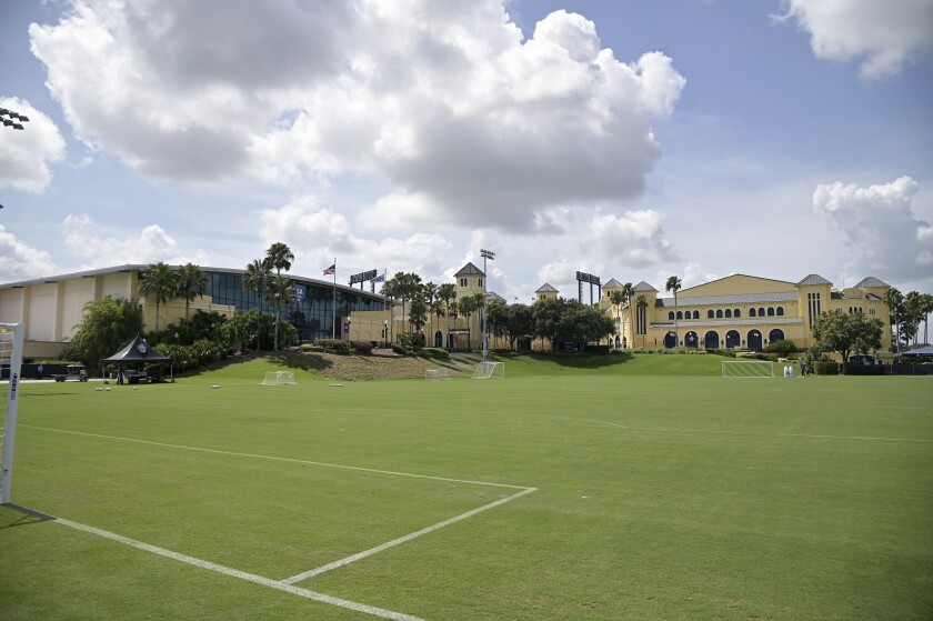 An empty soccer field at the ESPN Wide World of Sports complex.