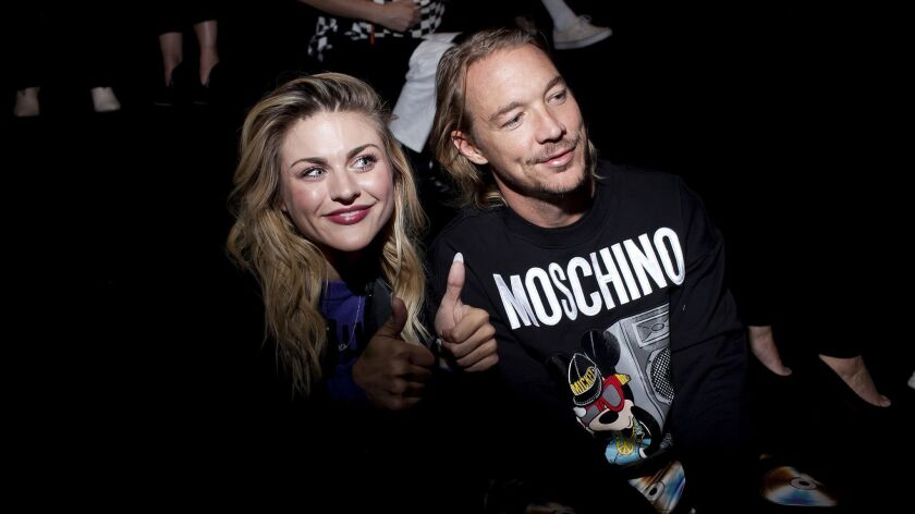 Frances Bean Cobain, left, and Diplo at the H&M X Moschino show in New York on Wednesday night.