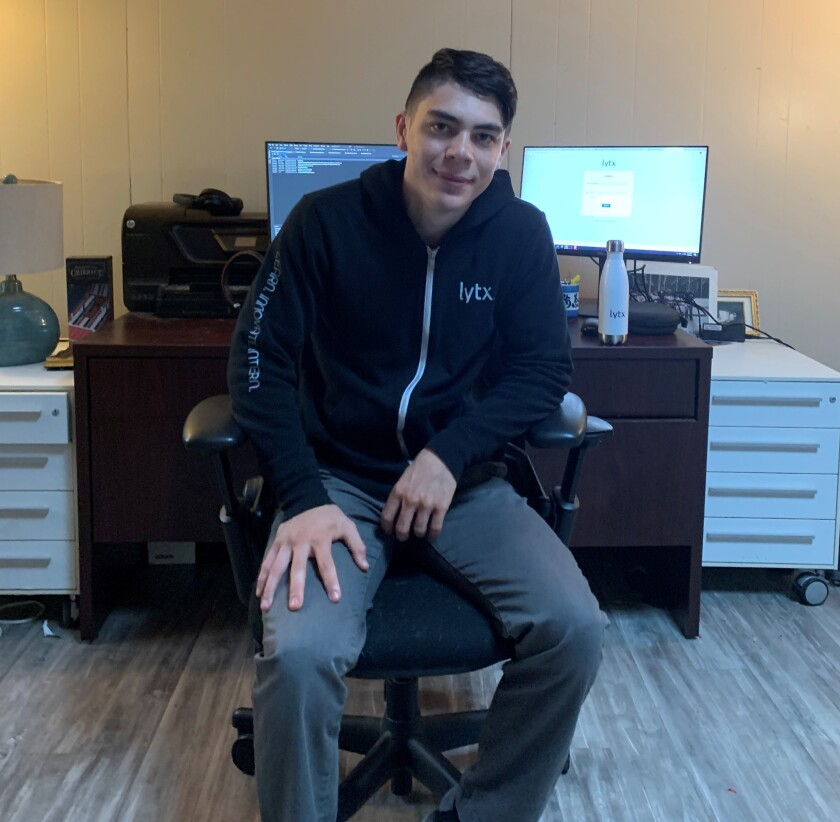 Wesley Varrasso, a SDSU student from La Mesa, is working from home on develop software for video telematics firm Lytx.
