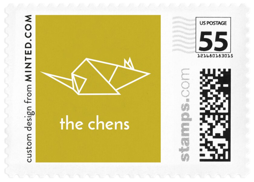 "A stamp featuring an origami-rat design and the phrase ""the chens."""